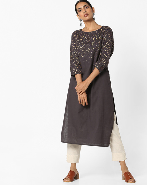 Printed Straight Kurta By Project Eve IW Casual ( Grey )