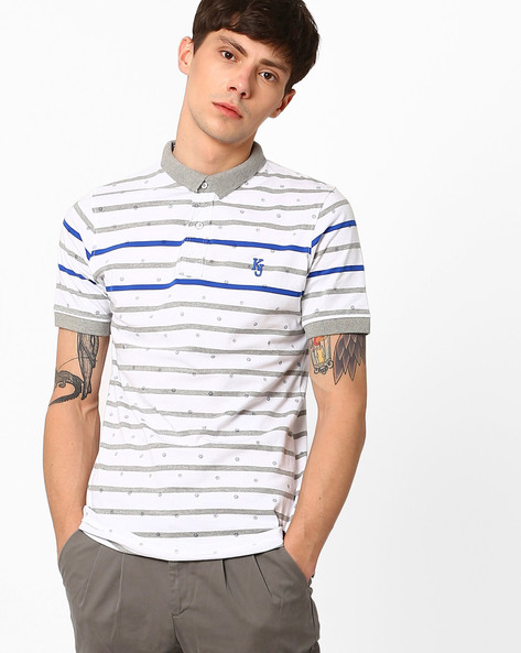Printed Slim Fit Polo T-shirt By Killer ( Navy )