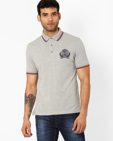 Slim Fit Polo T-shirt With Embroidery By JOHN PLAYERS ( Black )