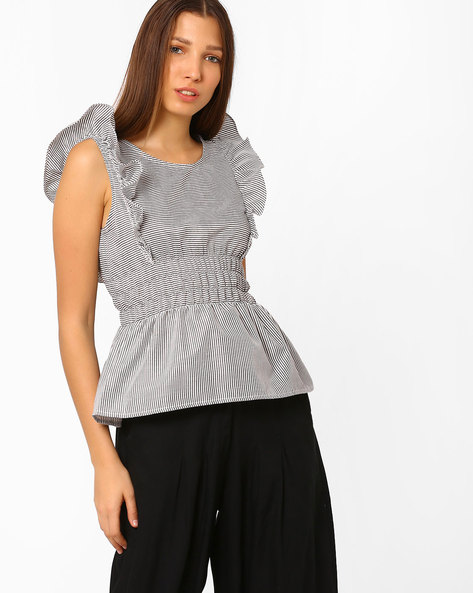 Striped Peplum Top With Flutter Sleeves By Rena Love ( Blackwhite )