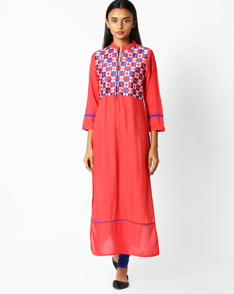 Straight Kurta With Embroidery By Jaipur Kurti ( Peach )