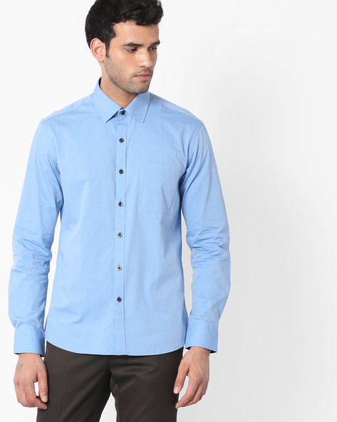 Regular Fit Shirt With Patch Pocket By NETWORK ( Blue )