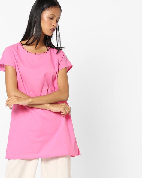 Straight Kurti With Printed Neckline By AJIO ( Pink )