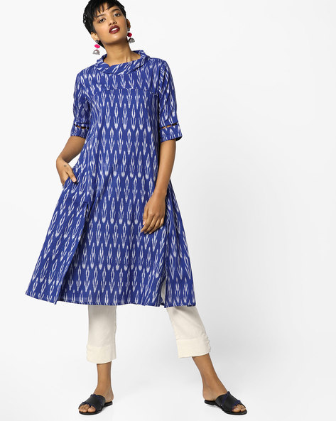 Ikat Tunic With Cowl Neck By PE IW Fusion ( Blue )