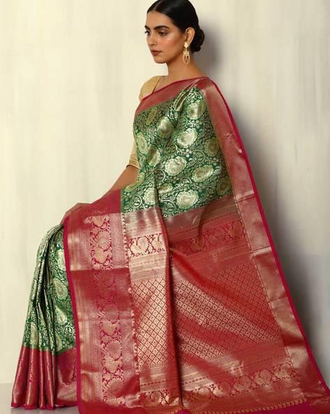 Zari Brocade South Silk Saree By Pretty Woman ( Green )