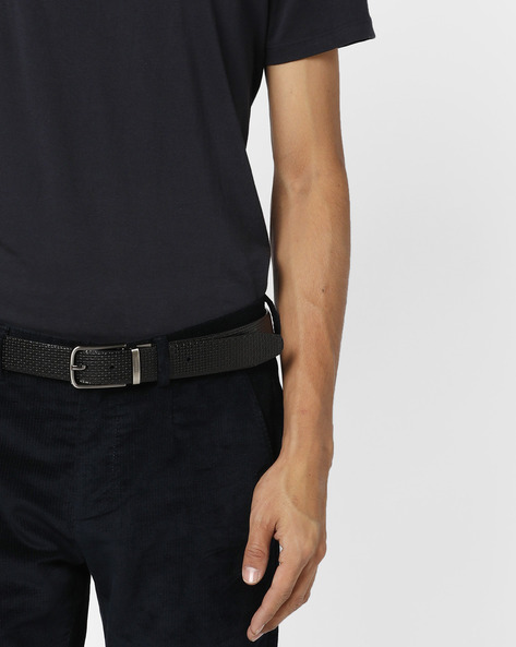 Textured Leather Belt By Lino Perros ( Black ) - 450102556001