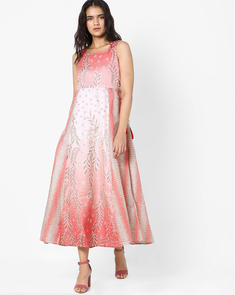 Panelled Maxi Dress By Akkriti By Pantaloons ( Pink )