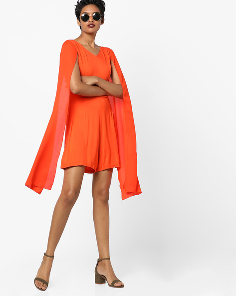 Playsuit With Slit Trumpet Sleeves By RI-DRESS ( Orange )