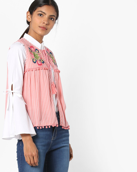 Floral Embroidered Shrug With Neck Tie-Up By AJIO ( Pink )