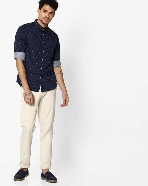 Printed Shirt With Patch Pocket By FLYING MACHINE ( Navy )