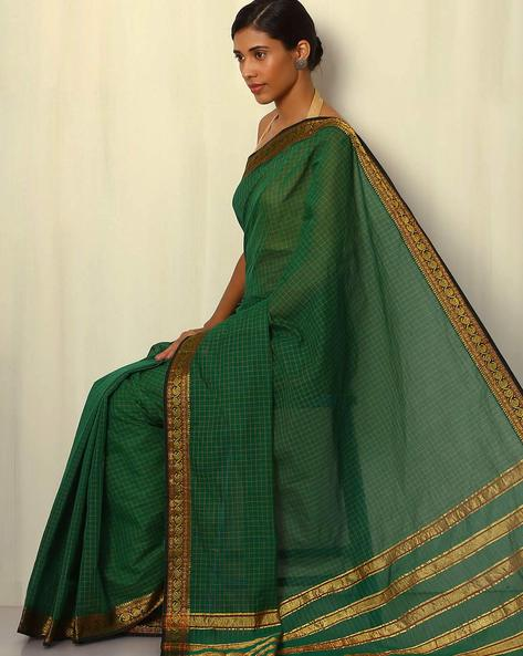 Mercerised Cotton Saree With Zari Border By Indie Picks ( Green )