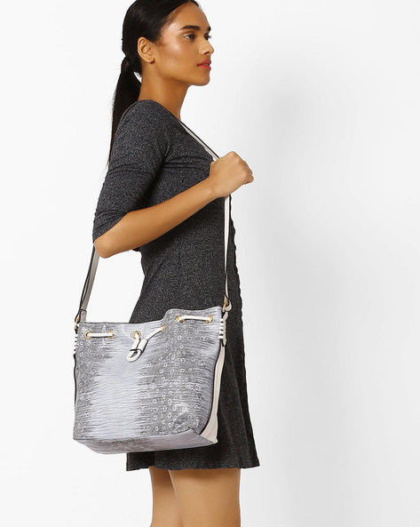 Textured Sling Bag With Drawstring Fastening By AJIO ( White )
