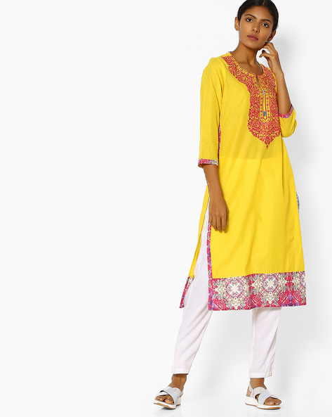 Straight Kurta With Floral Embroidery By Purple Tree ( Yellow )