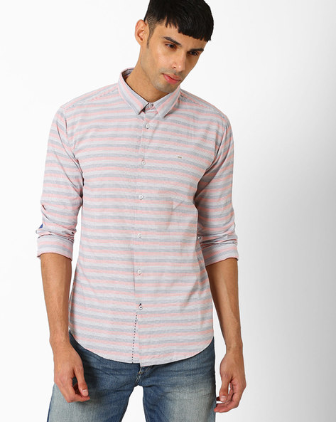 Weft Striped Slim Shirt By BASICS ( Orange )