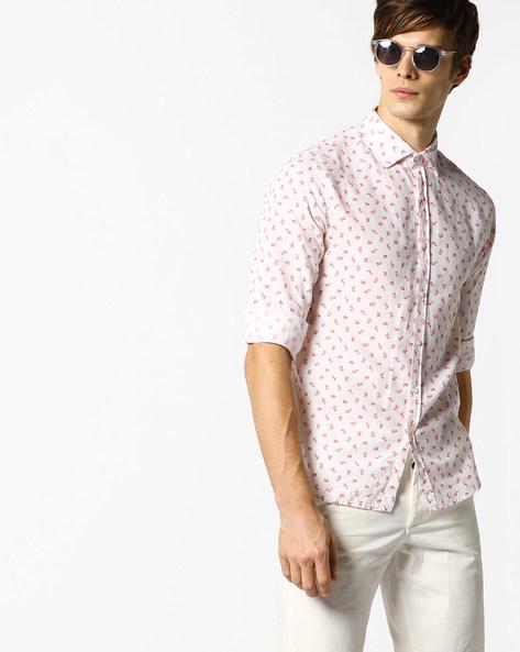 Micro Print Slim Fit Shirt By AJIO ( Red )