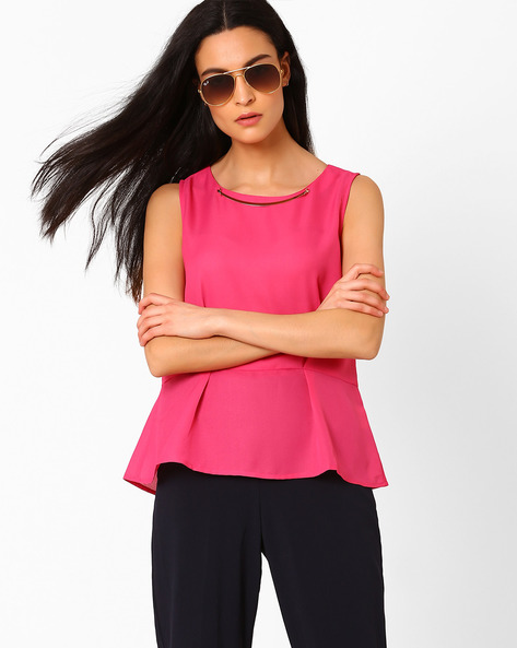 Sleeveless Peplum Top By AJIO ( Fuchsia )