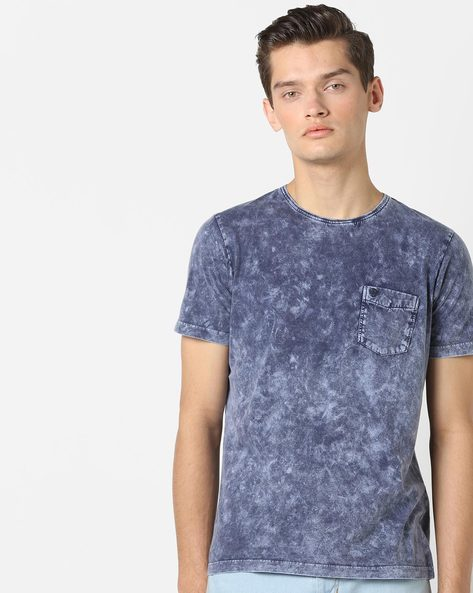 Crew-Neck T-shirt With Acid-Wash Effect By Killer ( Blue )
