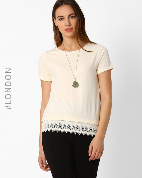 T-shirt With Lace Hem By Marks & Spencer ( Cream )