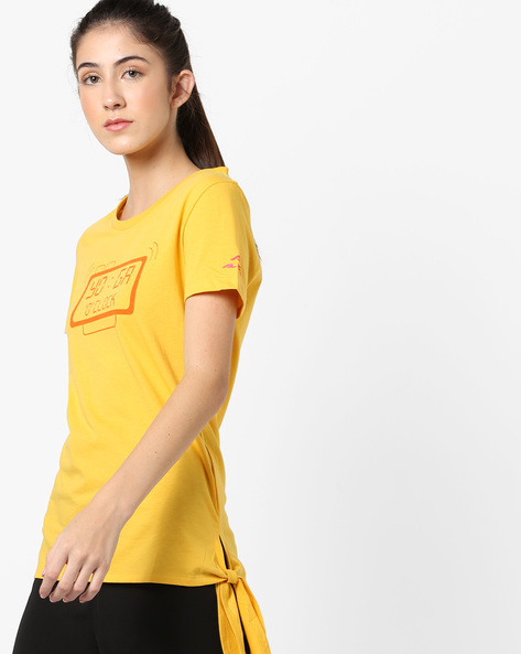Crew-Neck Graphic Print T-shirt With Tie-Up By ALCIS ( Yellow )