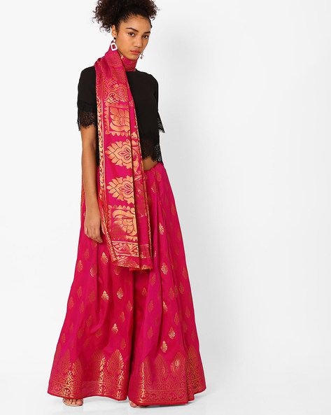 Saree With Woven Design By Hitansh ( Pink )