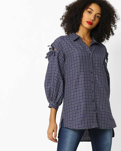 Checked High-Low Shirt With Cold-Shoulder Sleeves By Rena Love ( Navyblue )