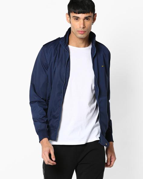 Slim Fit Zip-Front Jacket By SPYKAR ( Navy )