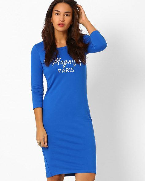 Graphic Print Bodycon Dress By AJIO ( Blue )