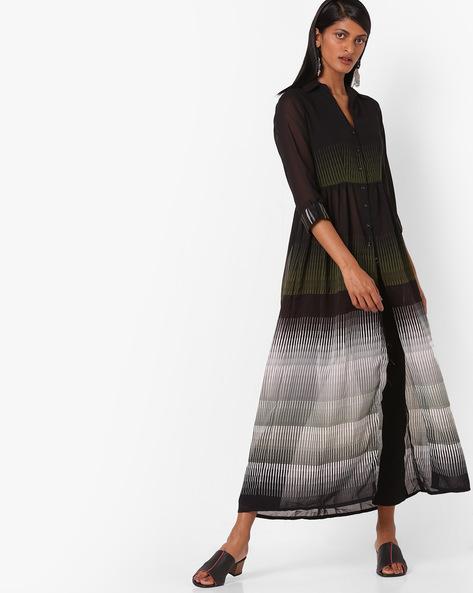 Printed Flared Shirt Dress By Biba ( Black )