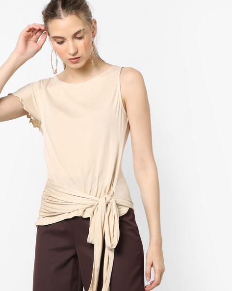 Sleeveless Top With Tie-Up By AJIO ( Beige )