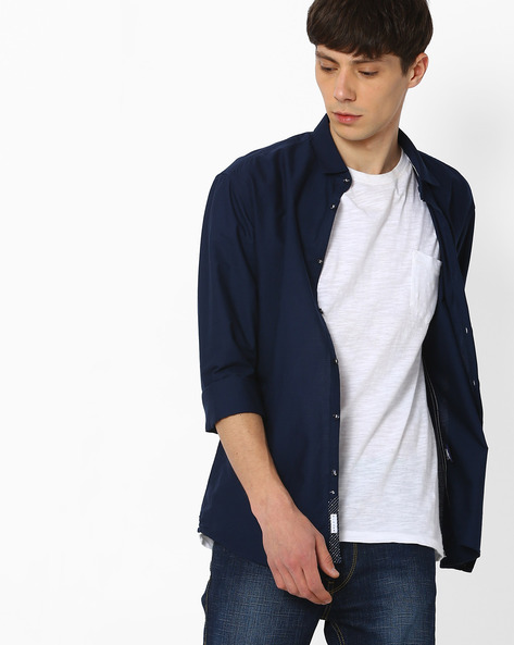 Slim Fit Shirt With Spread Collar By Killer ( Navy )