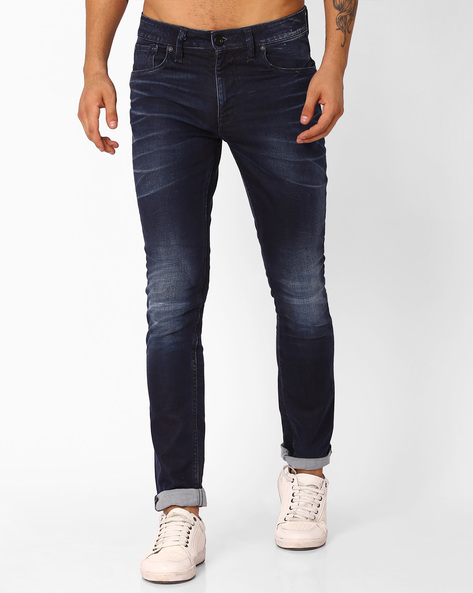 Lightly Washed Skinny Fit Jeans By VOI JEANS ( Darkblue )