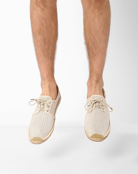 Perforated Lace-Up Espadrilles By AJIO ( Beige )