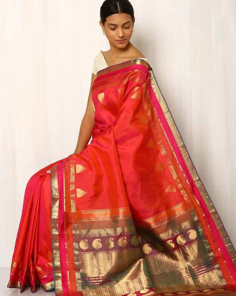 Handwoven Pure Silk Zari Pallu Saree By Rudrakaashe-MSU ( Fuchsia )