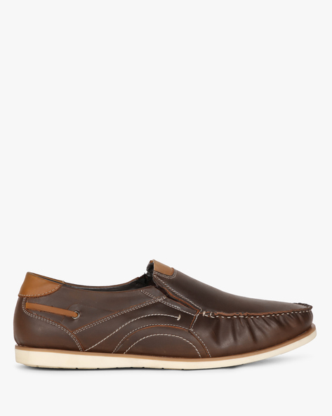 Low-Top Slip-On Formal Shoes By SAN FRISSCO ( Brown )