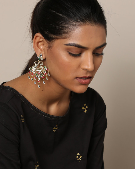 Kundan Stone Studded Peacock Drop Earrings By Rubans ( Multi )