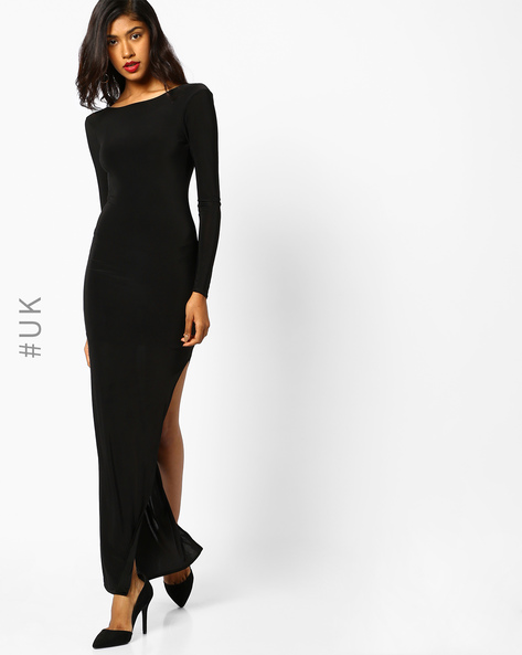 Bodycon Maxi Dress With Side Slit By Rare London ( Black )