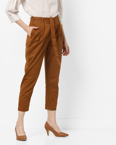 Mid-Rise Cropped Trousers With Waist Tie-Up By AJIO ( Khaki )