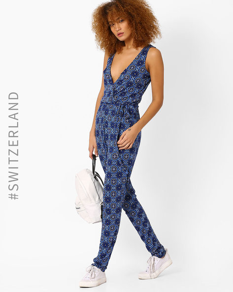 Printed Sleeveless Jumpsuit By TALLY WEiJL ( Blue )