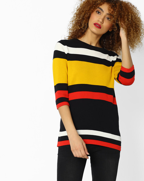 Striped Slim Knitted Top By FIG ( Black )
