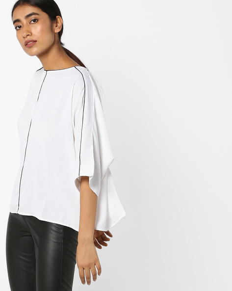 Crew-Neck Top With Dolman Sleeves By Tokyo Talkies ( White )