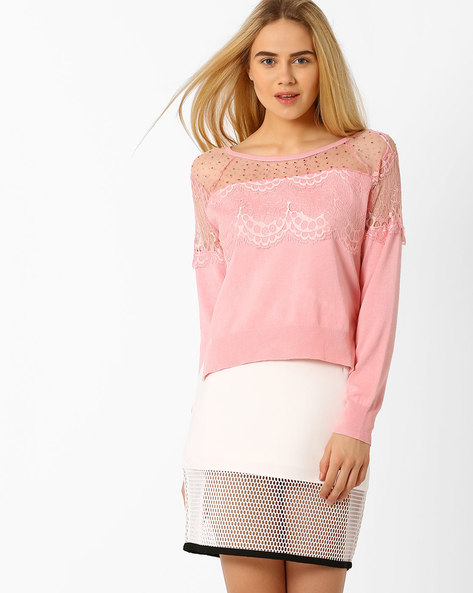 High-Low Pullover With Lace Detail By AJIO ( Nude )