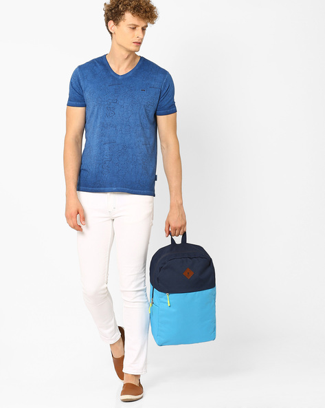 Colourblock Canvas Laptop Backpack By AJIO ( Blue )