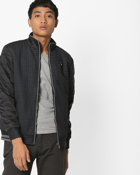 Textured Jacket With Quilted Sleeves By Fort Collins ( Black )