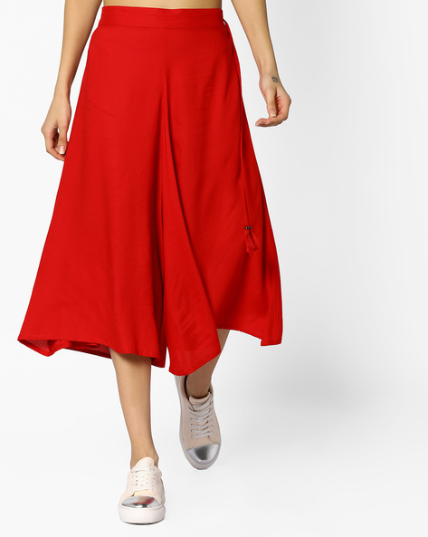 Cropped Palazzos With Tassel Tie-Up By Arah ( Red )
