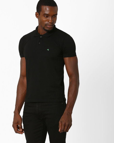 Slim Fit Polo T-shirt By The Indian Garage Co ( Black )
