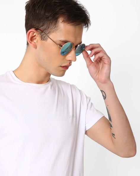 Mirrored Round Sunglasses By ALPHA MAN ( Blue )