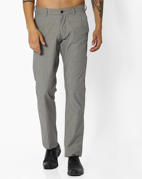 Flat-Front Slim Fit Cotton Trousers By NETWORK ( Ltgrey )