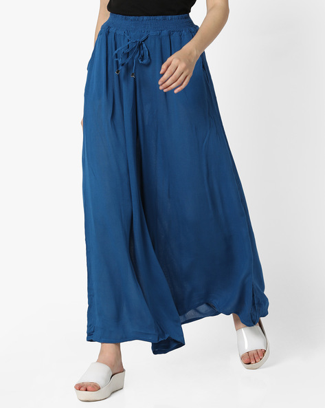 Flared Palazzos With Drawstring Waist By Mystere Paris ( Blue )
