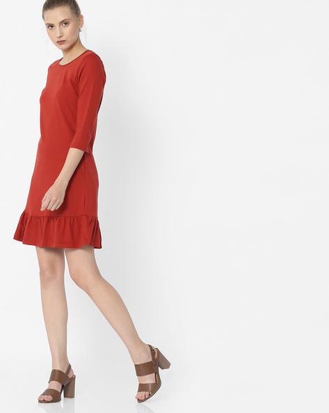 Sheath Dress With Flounce Hem By ANONYMOUS CO ( Orange )