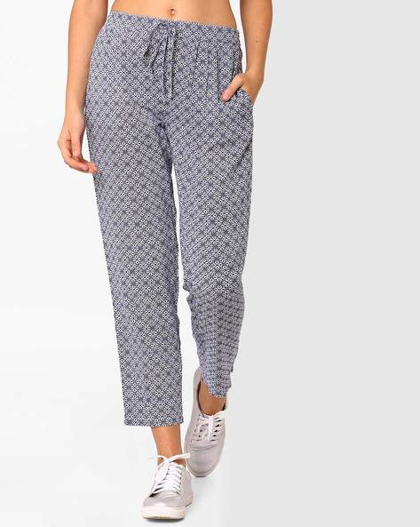 Printed Trousers With Drawstring Waist By AJIO ( Blue )